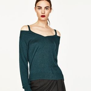 Zara Cutout Cold Shoulder Knit Sweater